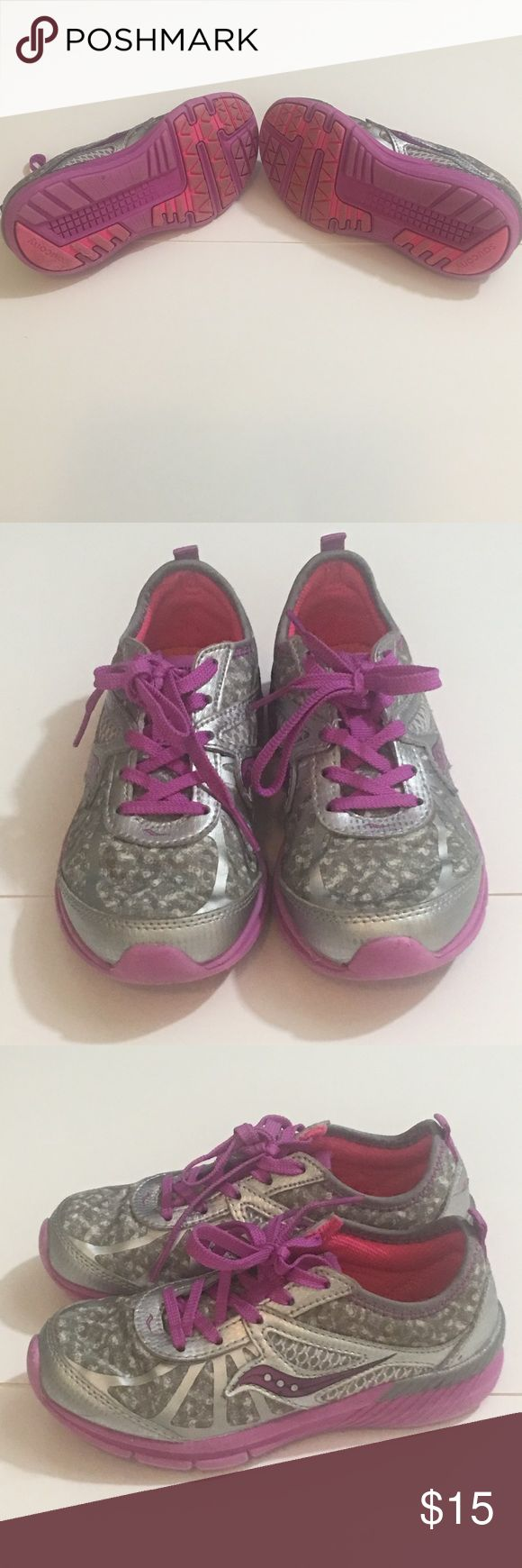 Saucony girls silver & purple tennis shoes Saucony girls silver & purple tennis shoes, size 12. In good used condition. Saucony Shoes Sneakers
