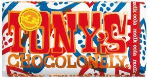 Tony's Melk Cola | Tony's Chocolonely  Cola is van alle tijden. En ja, waarom niet in chocolade? Doe eens gek: cola met een verrassing van knettersuiker in je reep. Prijs: €3,19