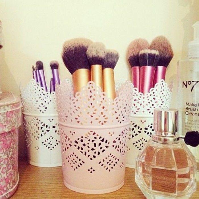 pinceaux à maquillage, originale idée rangement maquillage, boite a maquillage facile a faire