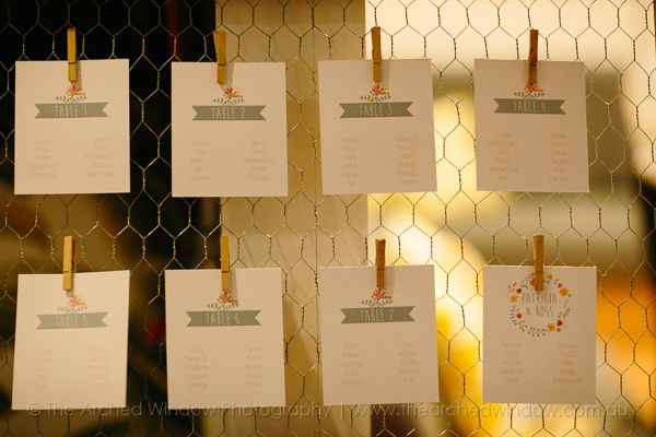 cute pegged table seatings on framed chicken wire for a wedding reception. Photography by The Arched Window.
