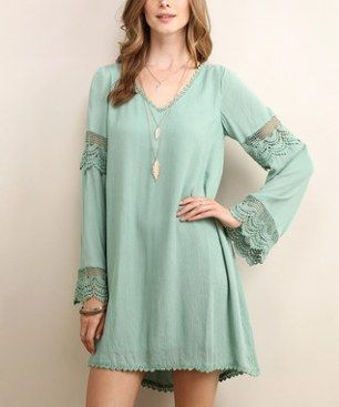 Seafoam Green Lace-Accent V-Neck Tunic  I really like finding good online discount clothing stores as I love to shop for all kinds of fashion and accessories.  I like finding cute, trendy and unique styles that are affordable and on sale.  I typically will buy women's dresses, shirts and skirts online as there are so many styles, colors and fabrics available.  You will be more than happy with your wardrobe after finding so many cute clothing and accessories at my favorite online discount…