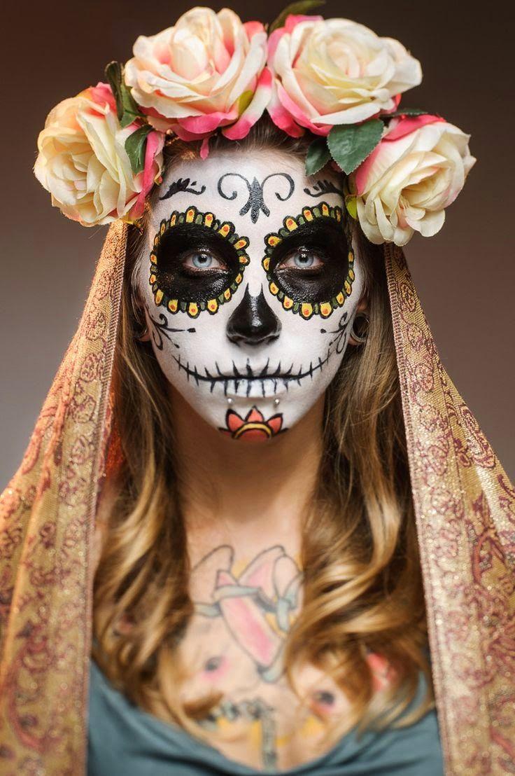 La Fete Halloween.Dia De La Muerte Maquillage Dia De Los Muertos Skull