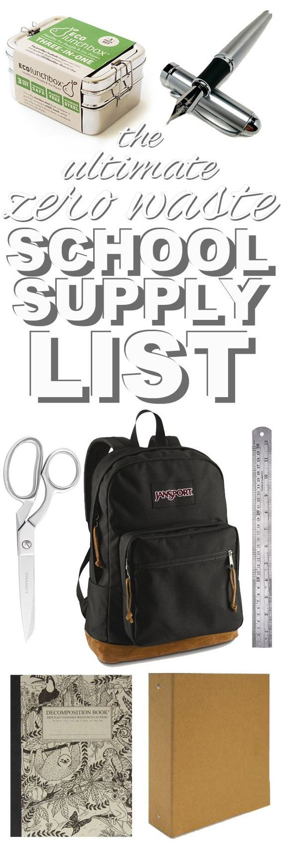 The ultimate list  of zero waste school supplies from http://www.goingzerowaste.com