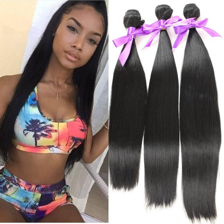 """3pcs/Lot 6A Long Straight Synthetic Hair Extension Natural Black 16"""" 18"""" 20"""" Hairpiece For Women Hair Wefts Peluca Peruca 70g"""