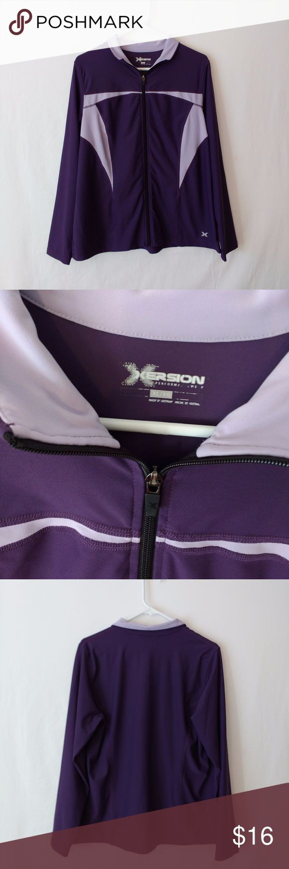 """Xersion Active Workout Jacket Purple XL Zipper XERSION Womens Jacket Size XL Long Sleeve Active/Workout with Zipper Front Purple Multi-Color. Photos are part of description. Feel free to ask questions. Athletic type jacket. 2 tone purple. No pockets.  Acrylic Blend. Measured flat approximately... Armpit to armpit: 22"""" Length from shoulder to bottom: 25"""" Sleeve length: 24""""  Ships quickly. Remember to check your measurements. Thanks :) *3 Xersion Jackets & Coats"""