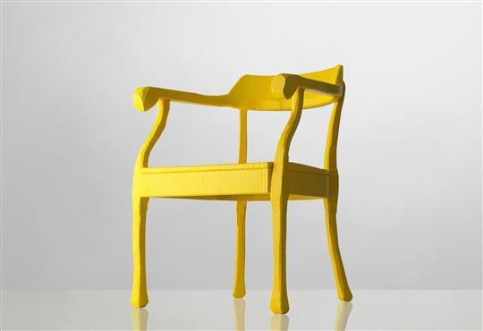 Raw lounge chair carved by hand in bright yellow. Design Jens Fager, manufactured by Muuto - available at Tempo Berlin http://www.tempoberlin.com