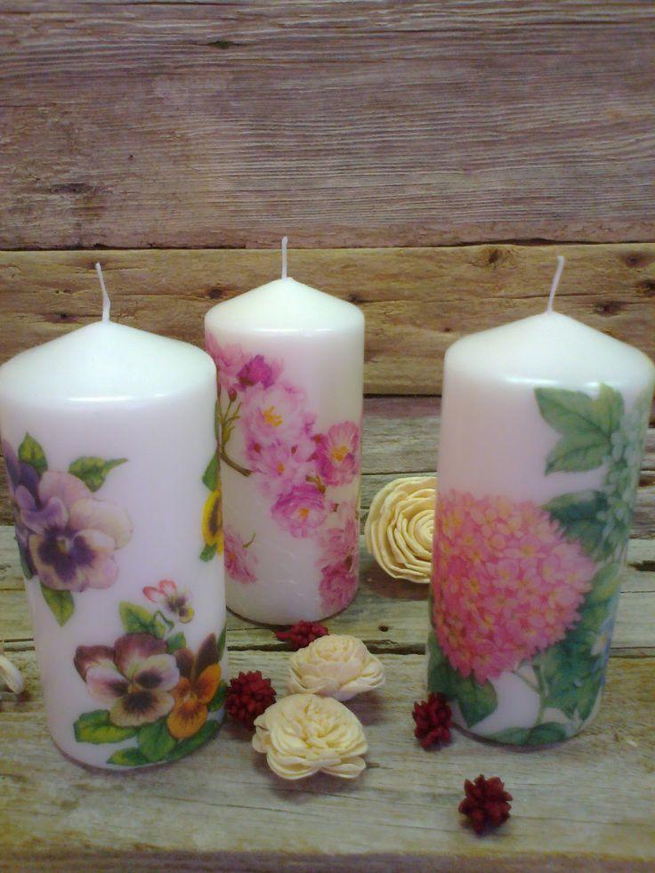 velas decoradas com decoupage - Pesquisa Google