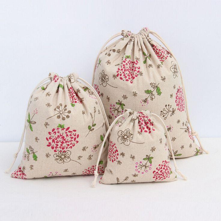 Kırmızı Karahindiba Pamuk Keten Saklama Çantası Çevre Dostu Alışveriş Çay/şeker/anahtar Paketi İpli Çanta Küçük Bez Çanta Yılbaşı hediye(China (Mainland))