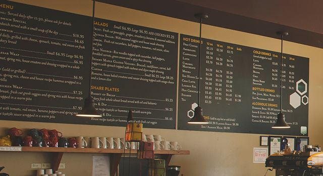 Whole Wheat & Honey Cafe – menu boards