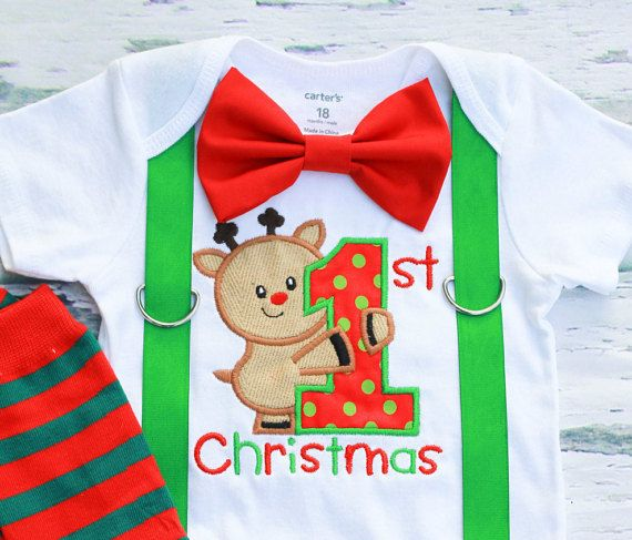 My 1st Christmas Baby Boy onesie, Reindeer Christmas onesie, Matching Bow tie and suspender set, Boy Christmas outfit, Red Green Leg Warmers