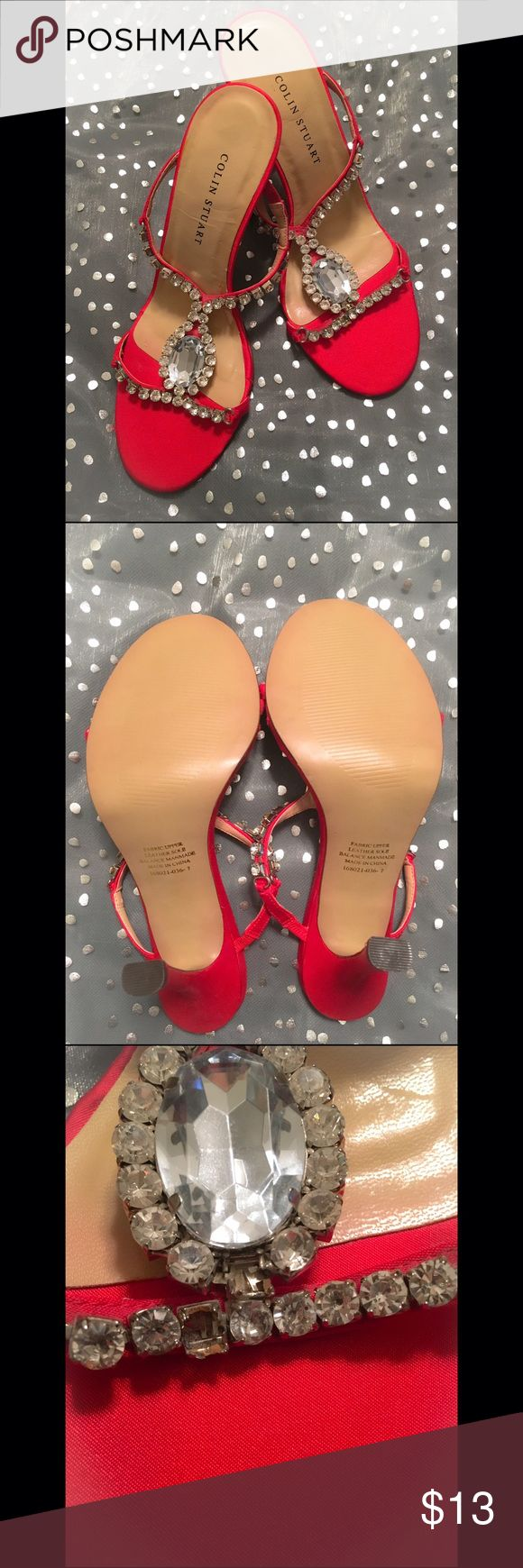👠Colin Stuart Blinged Out Holiday Heels👠 Gorgeous red satin heels that have only been worn once for a short period of time. They have a 3 1/2 inch heel with no damage to the heel. The only defect is they are missing two stones on the left heel (pictured). With the sparkle they have and their silver setting you would only notice it if you were up close. Price is firm and sorry but no trades. Victoria's Secret Shoes Heels