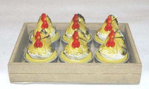 6 Tealight segnaposto a forma di gallo. CANDELE MINI GALLINA 6pz. H.5cm Disponibili da C&C Creations Store