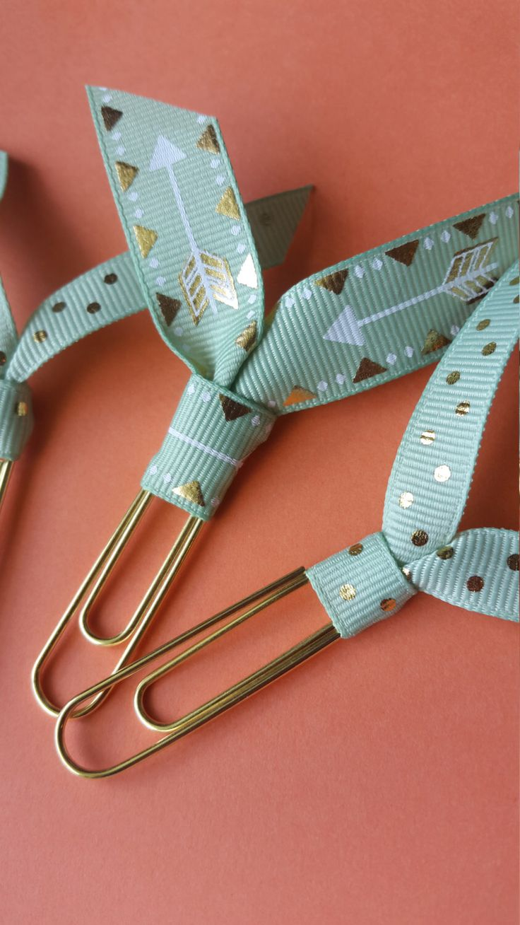 Mint Gold Dot Arrow Ribbon Paper Clip Bookmark for books, bills, and planners by TheCoastalCousins on Etsy https://www.etsy.com/listing/248725838/mint-gold-dot-arrow-ribbon-paper-clip