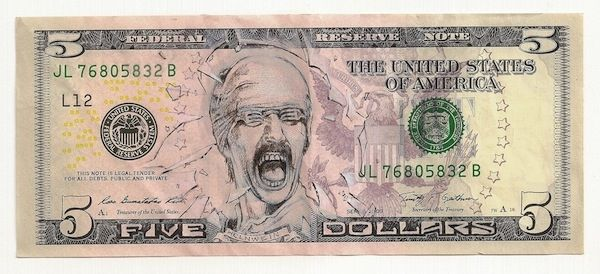 """James Charles Helnwein Ink Drawing on United States Bank Note 14x10.5"""" Framed $850"""