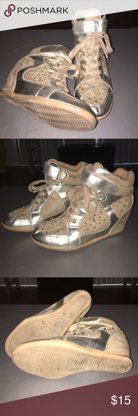Gold wedge heel tennis shoe Gold studded wedge tennis shoes Wild Diva Shoes Sneakers