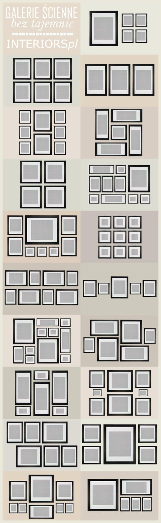 Wall art arrangement templates... Will be really helpful for putting together a photo gallery going up our staircase.