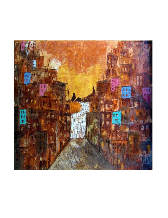 Favela Babylonia Rio De Janeiro Brazil Original Illustration Mixed Media Abstract Print