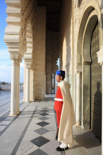 Morocco, Rabat, guard in archway