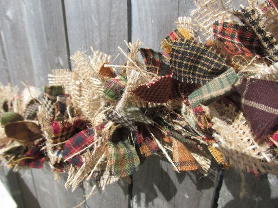 Rustic Fall Garland Burlap Homespun Fabric Jute Rustic Christmas Primitive Decor on Etsy, $30.60