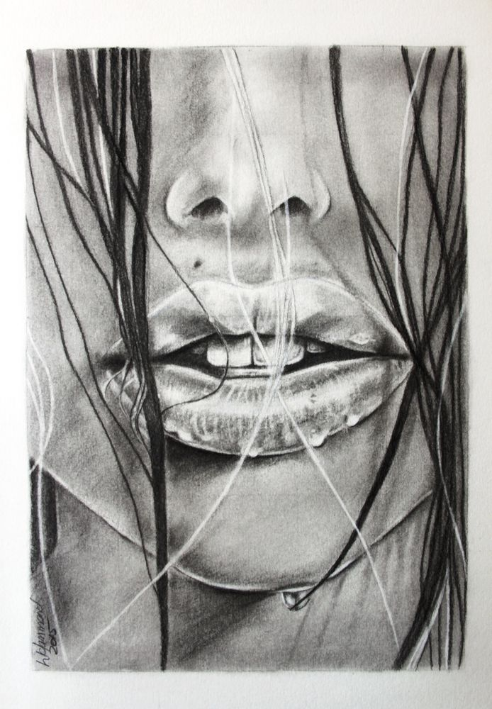 Charcoal and Graphite Wet Lips A3 130815