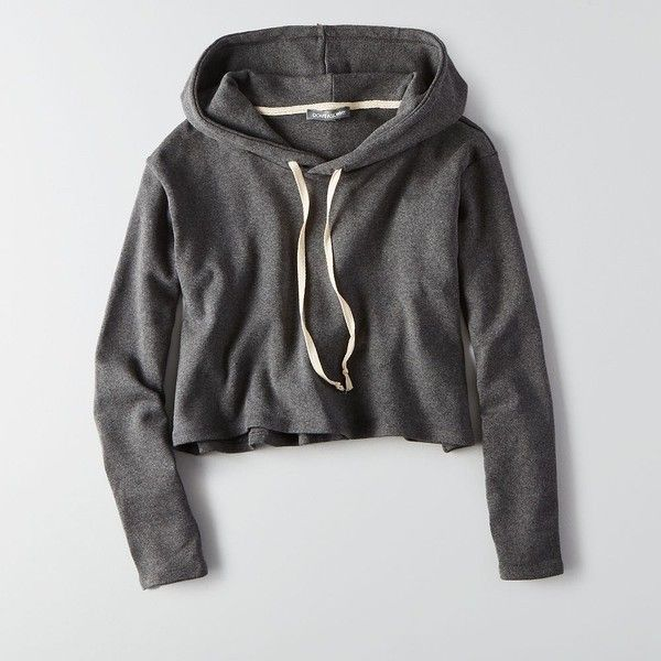 AEO Don't Ask Why Crop Hoodie ($45) ❤ liked on Polyvore featuring tops, hoodies, jackets, sweaters, grey, gray crop top, gray top, crop top, american eagle outfitters and grey hoodie