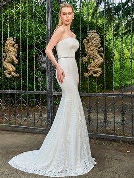 Lace Mermaid Strapless Beaded Wedding Dress