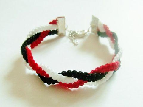 Fonott karkötő (fekete-piros-fehér)