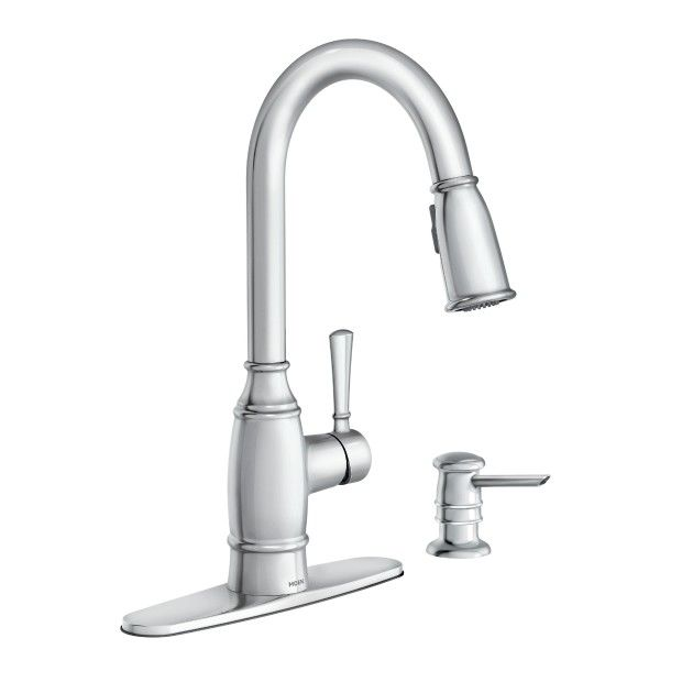 Noell One Handle Pulldown Kitchen Faucet Chrome 87791 Moen