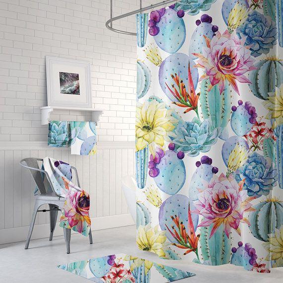 Pastel Floral Cactus Tropical Shower Curtain  succulent