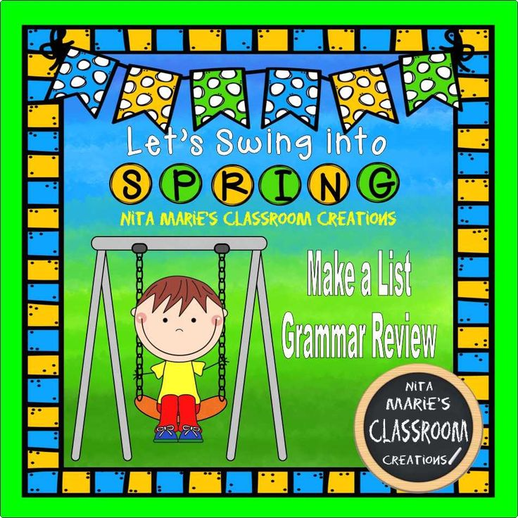 Swing Into Spring  ~Make a List Grammar Review Students simply make list about concepts we covered throughout the year.  These concepts include parts of speech, homophones, synonyms, antonyms, contractions, compound words, and rhymes. (Freebie)