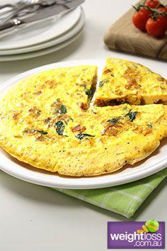 Bacon & Egg Slice. #HealthyRecipes #DietRecipes #WeightLossRecipes weightloss.com.au