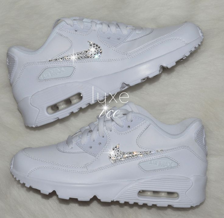 Image of Nike Air Max 90 White customized with SWAROVSKI Xirius Rose Cut Crystals.