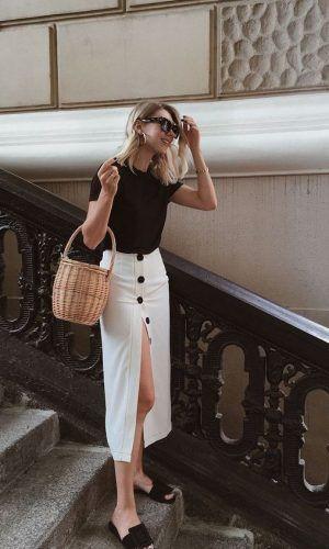 saia com botões frontais, moda, estilo, tendência, looks, button front skirt, …