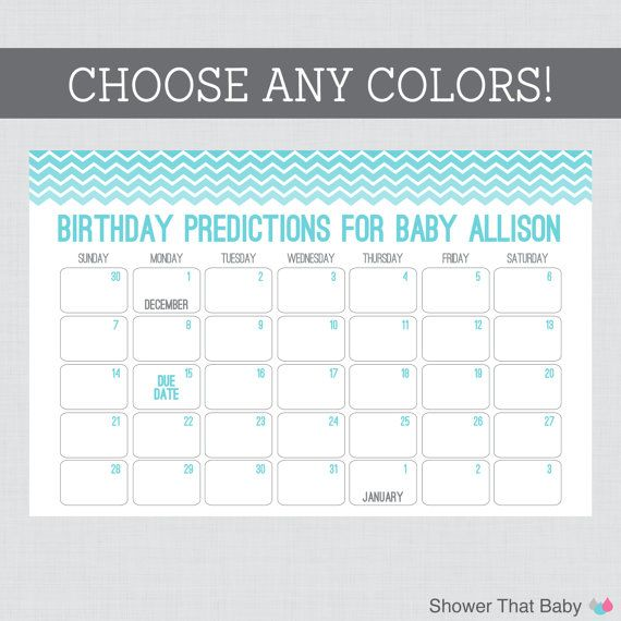 Guess The Birth Date Baby Shower Game: Baby Birthday Predictions Printable Chevron Baby Shower
