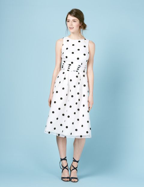 Violet Dress with embroidered navy spots