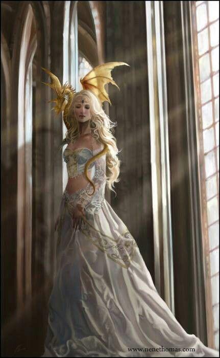 Khara, priestess of Ritrix and healer, with her pet dragonling- Illaris.