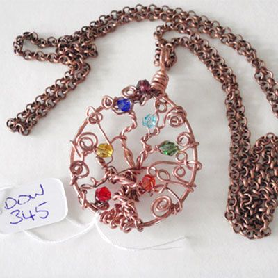 doinWire handcrafted copper Tree of Life with chakra crystals. DOW345