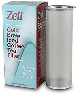 Zell Cold Brew Coffee Maker, Iced Coffee & Tea Maker Infuser for Mason Jars | Durable Fine Mesh Stainless Steel Coffee Maker Filter | 64 Oz (2 Quart)