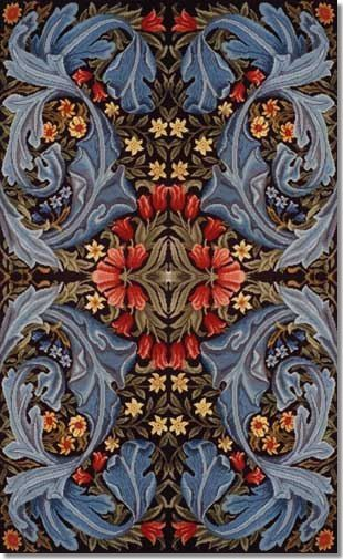 Fabric design for a sofa seat by William Morris and his apprentice and successor Henry Dearle. A panel was woven in about 1910 by Morris & Co after the death of Morris and while Dearle was running the company