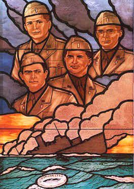 United States Army chaplains who gave their lives to save other civilian and military personnel during the sinking of the troop ship USAT Dorchester on February 3, 1943, during World War II. They helped other soldiers board lifeboats and gave up their own life jackets when the supply ran out.[1] The chaplains joined arms, said prayers, and sang hymns as they went down with the ship.