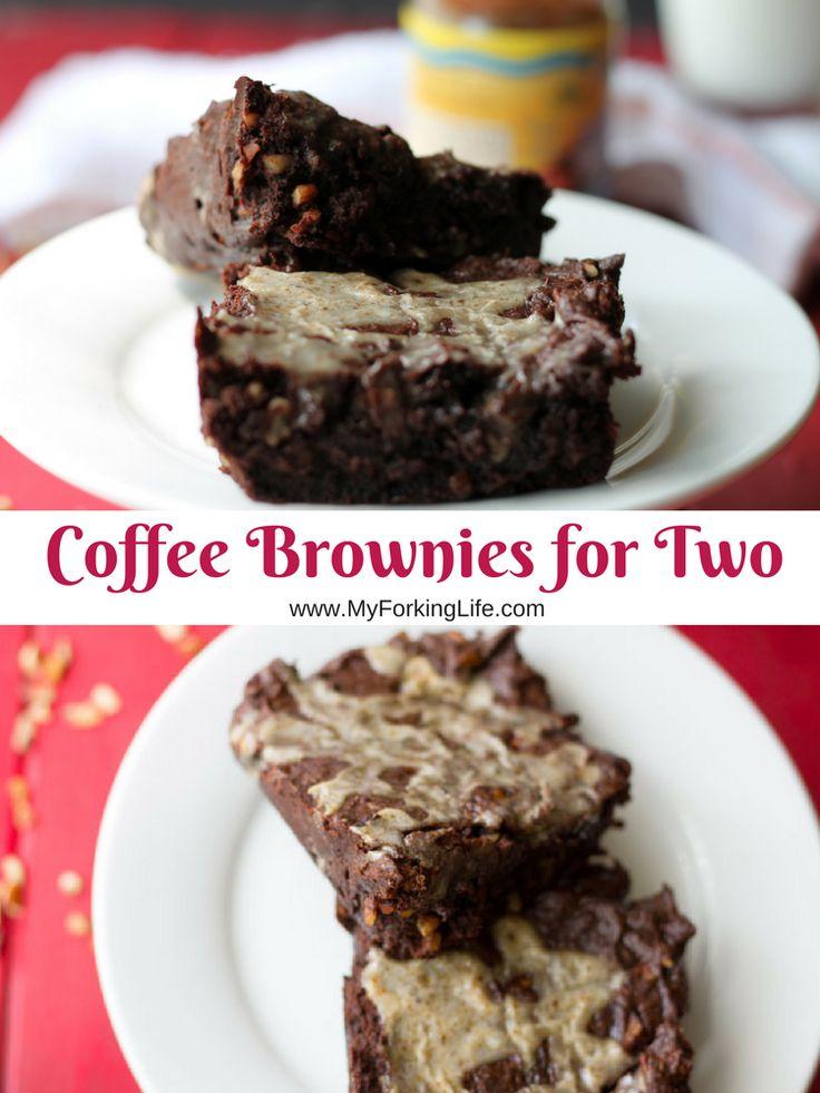 Coffee Brownies for Two with Hazelnut Coffee Creamer Glaze.