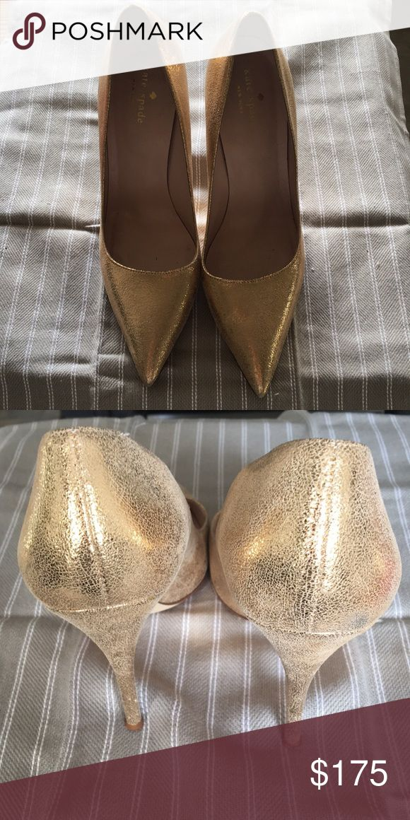 Kate Spade Gold Metallic High Heels Licorice Too Gorgeous gold metallic heels perfect for the holidays or your wedding. Worn during wedding photos only. kate spade Shoes Heels