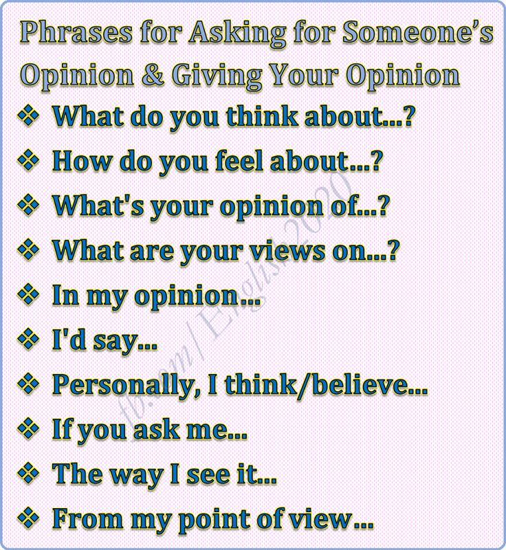 Forum   ________ English Grammar   Fluent LandPhrases for Asking for Someone's Opinion vs Giving opinion   Fluent Land