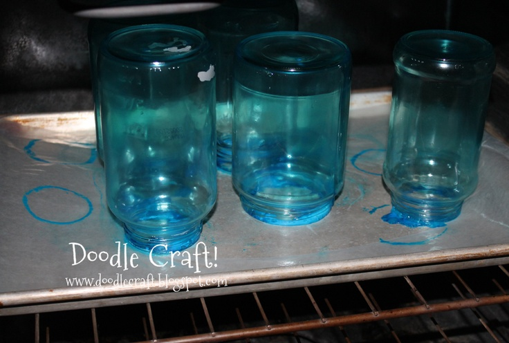 dye glass with elmers glue and food coloring. then bake.