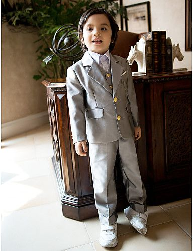 Five Pieces Silver Ring Bearer Suit Tuxedo Clothing Set - USD $ 79.99