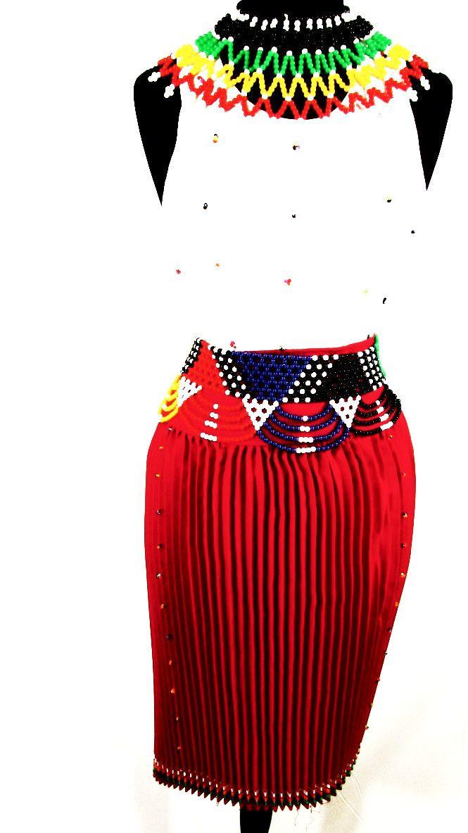 South African Women's Zulu Attire in Red