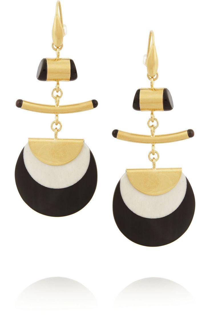 Isabel Marant | Gold-plated, horn and bone earrings | NET-A-PORTER.COM