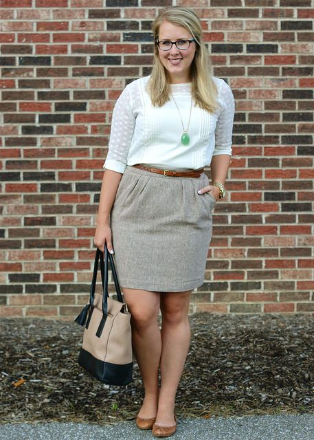 gray skirt, white 3/4 top, cognac belt and shoes