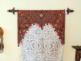 Valance Curtains Window Valance Window treatments Valances Valances Red Vintage Door Kitchen Valance Embroidered Handmade Indian Mirror Work