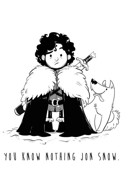 Adorable Jon Snow and Ghost Cartoon Art by Giulia...   Game of Thrones Fan Art